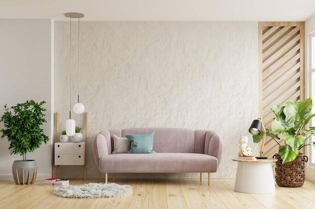 Sofá en la sala de estar con fondo de pared blanca vacía. representación 3d