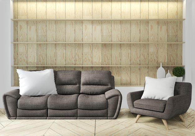 Sofá y sillón en salón japonés con pared vacía