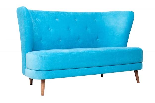 Sofá de tela azul moderno aislado en blanco