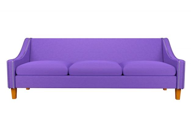 Sofá violeta y cuero de tela de silla en fondo blanco para usar en gráficos, edición de fotos, sofás, varios colores, rojo, negro, verde y otros colores
