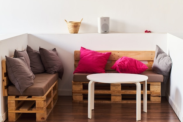 Sofás de paleta de madera