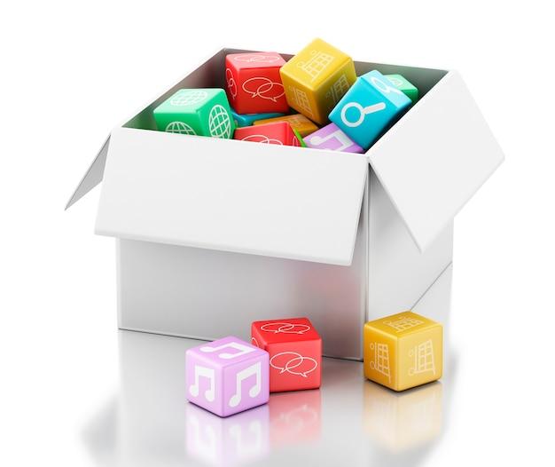 Software de aplicaciones móviles 3d en caja blanca.