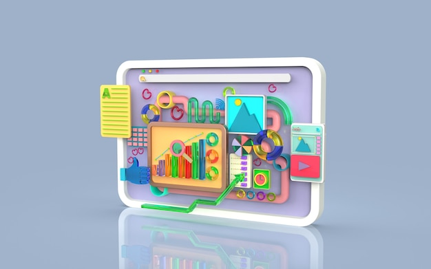 Software de aplicaciones móviles y desarrollo web con representación infográfica de gráficos de barras de formas 3d