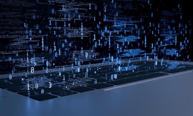 Software de computadora y datos binarios flotando desde el teclado de la computadora portátil