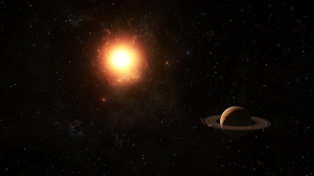 El sol brilla en saturno en el espacio, representación 3d.