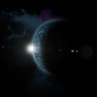 Sol saliendo detrás del planeta ficticio