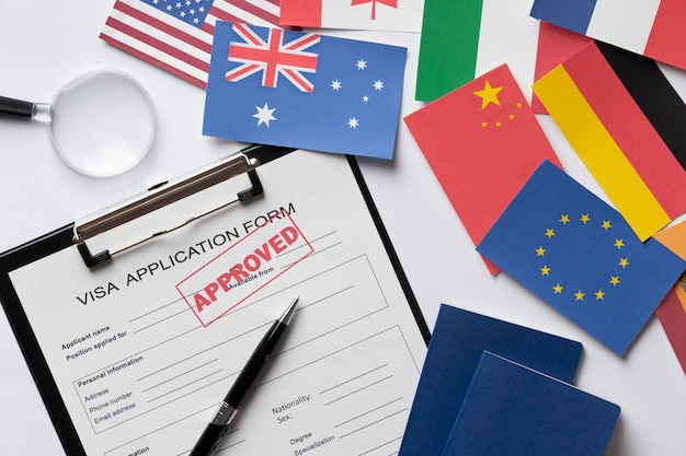 Solicitud de visa para arreglos de diferentes países