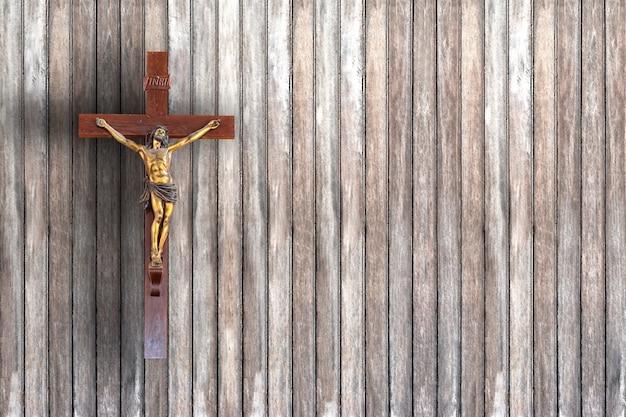 Sombra cruz en una pared de madera