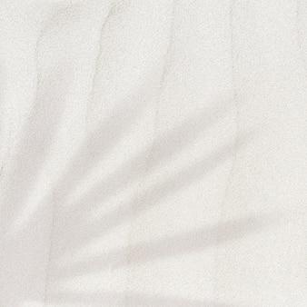 Sombra de hoja de palma sobre un fondo de textura de arena con espacio de copia