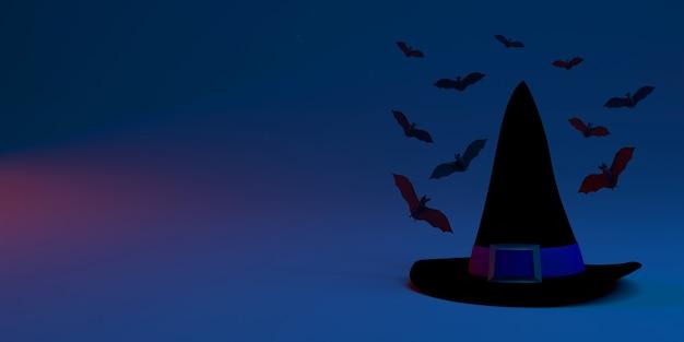 Sombrero de bruja rodeado de murciélagos halloween banner 3d ilustración