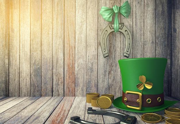 Sombrero de duende del día de san patricio con monedas de oro y herraduras sobre fondo de madera con espacio de copia, representación 3d