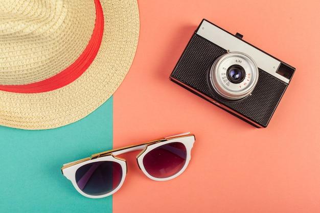 Sombrero mujer playa gafas sol vista superior