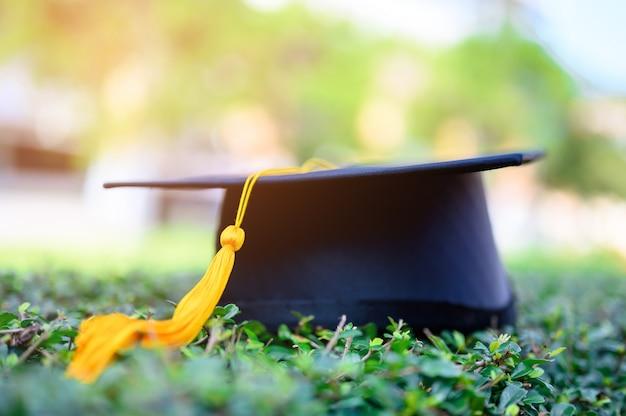El sombrero negro de los graduados universitarios se coloca sobre hojas verdes.
