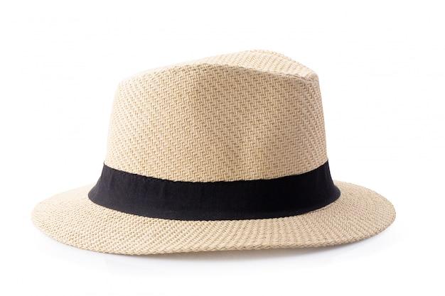 Sombrero de paja vintage con cinta negra para hombre aislado