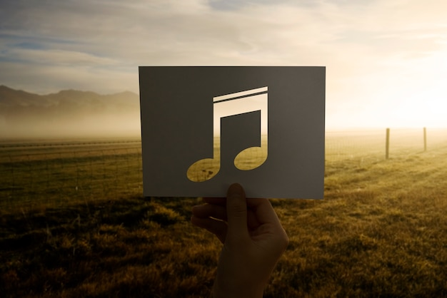Sonido de la música perforada nota musical