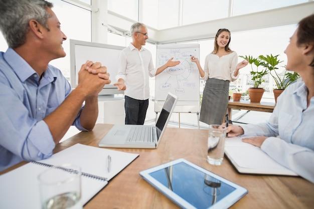 Sonriendo colegas de negocios llevando a cabo la presentación