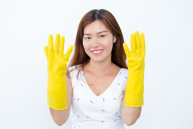 Sonriente, asiático, mujer, actuación, protector, guantes