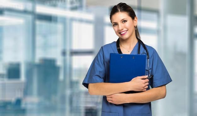 Sonriente, enfermera, retrato