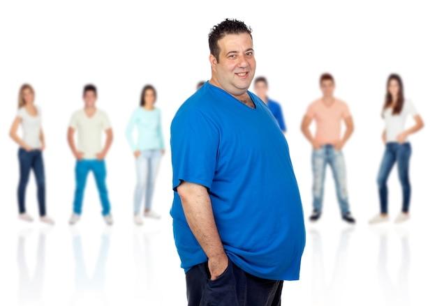 Sonriente mujer gorda