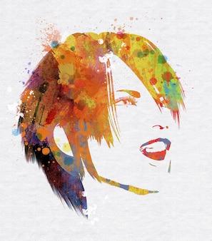 Sonriente rostro femenino con efecto de acuarela grunge