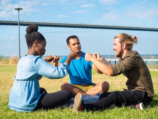 Sonrientes amigos multiétnicas en picnic