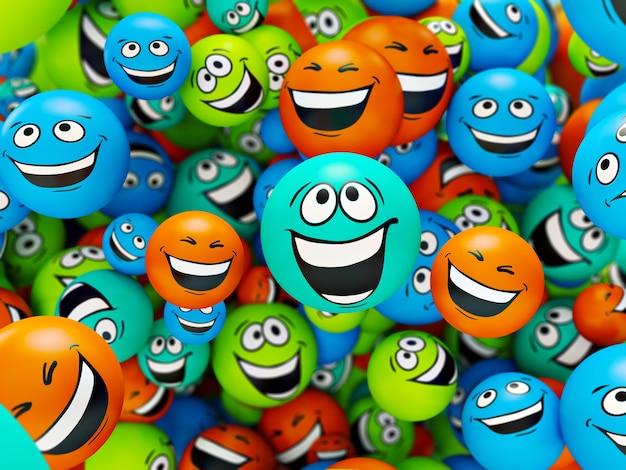 Sonrisas divertidas y coloridas. emociones positivas