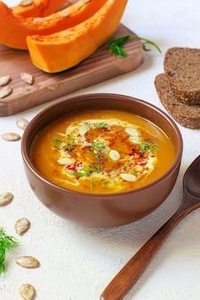 Sopa asada de calabaza y zanahoria con crema