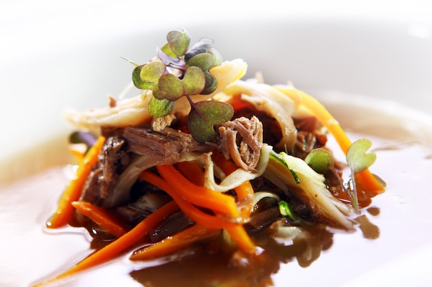 Sopa gourmet fresca con carne