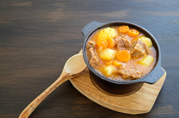 Sopa húngara gruesa, el gulash. sobre fondo oscuro