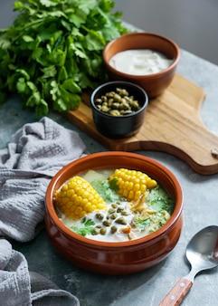 Sopa de patato común en colombia, cuba y perú.