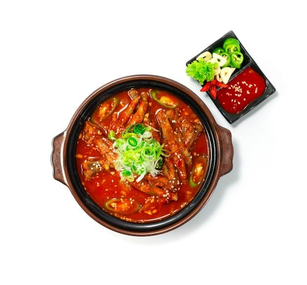Sopa picante de estofado de patas de pollo en una olla dakbal estilo de comida coreana servida con chile, ajo y salsa kochujang topview