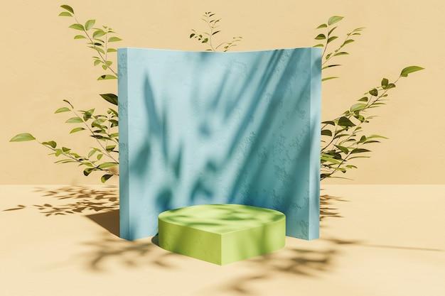 Soporte para exhibición de productos con vegetación posterior y sombra de hojas