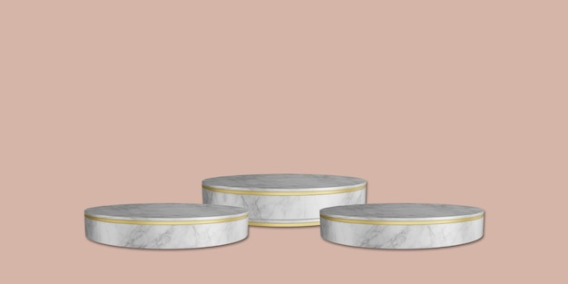 Soporte de mármol y soporte para trofeos telón de fondo rosa 3d ilustración