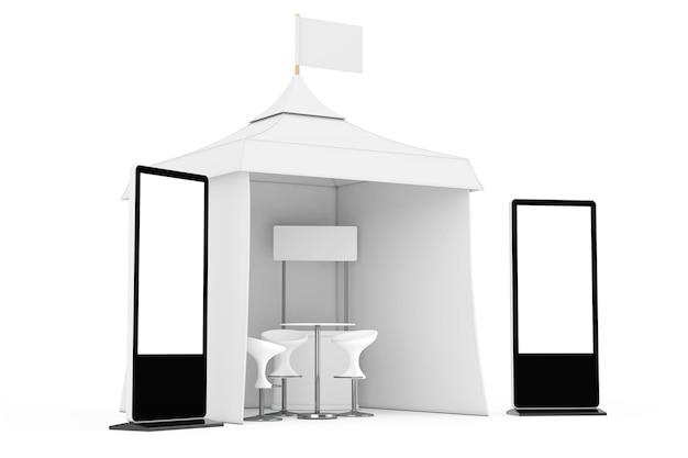 Soporte de pantalla lcd de feria comercial cerca de la tienda de eventos al aire libre de publicidad promocional con bandera, mesa y sillas sobre un fondo blanco. representación 3d