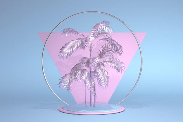 Soporte de podio azul rosa pastel sobre fondo geométrico con hojas de palmeras tropicales trendy summer tropical pastel 3d composición