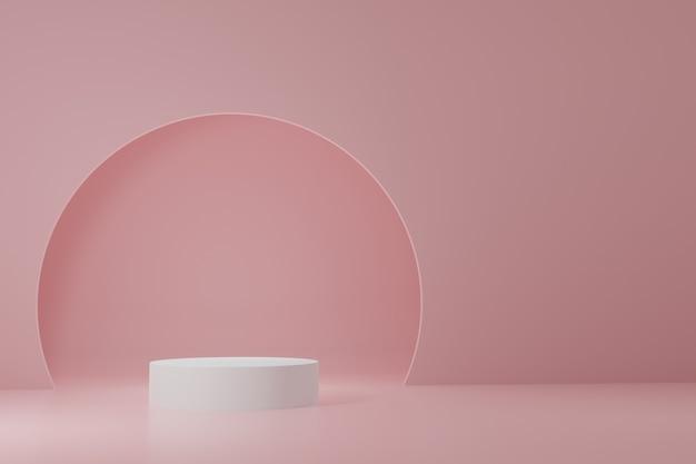Soporte de producto cilíndrico blanco y arco en la parte posterior sobre fondo rosa claro