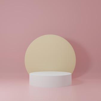 Soporte de producto de cilindro blanco y amarillo en habitación rosa, escena de estudio para producto, diseño minimalista, renderizado 3d