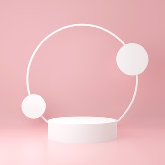 Soporte de producto de cilindro blanco con círculo alrededor sobre fondo rosa claro