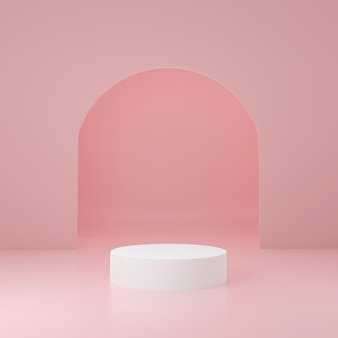 Soporte de producto de cilindro blanco en habitación rosa, escena de estudio para producto, diseño minimalista, renderizado 3d