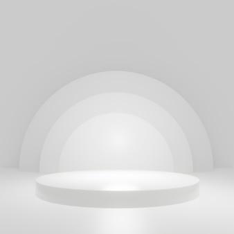 Soporte de producto de cilindro blanco en sala blanca, escena de estudio para producto, diseño minimalista, renderizado 3d