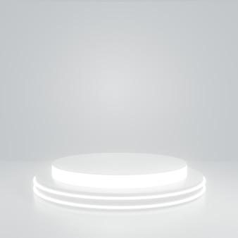 Soporte de producto de cilindro de brillo blanco en sala blanca, escena de estudio para producto, diseño minimalista, renderizado 3d