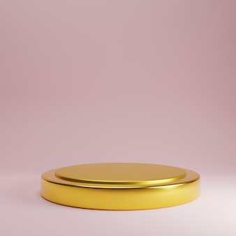 Soporte de producto dorado sobre fondo de color rosa rosa pastel