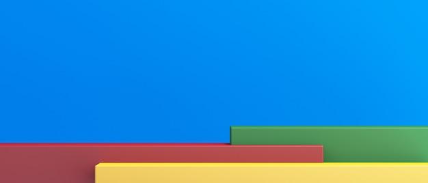 Soporte del producto, maqueta 3d colorida para presentación, fondo colorido, representación 3d