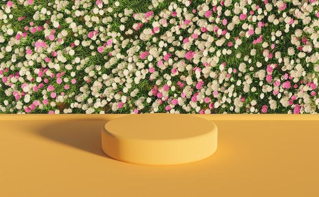 Soporte de producto con pared de flores blancas y moradas y superficie cálida. representación 3d