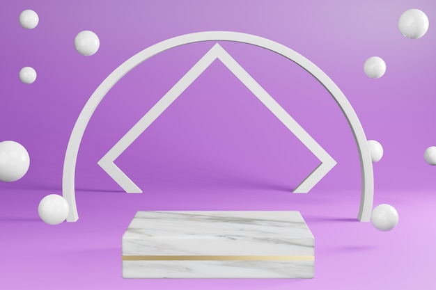 Soporte de producto de pedestal de mármol blanco en púrpura con pantalla de podio de decoración, representación 3d.