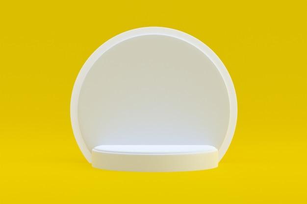 Soporte de producto, podio mínimo en amarillo para presentación de productos cosméticos.