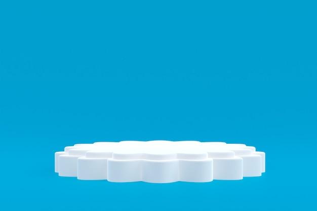 Soporte de producto, podio mínimo en azul para presentación de productos cosméticos.