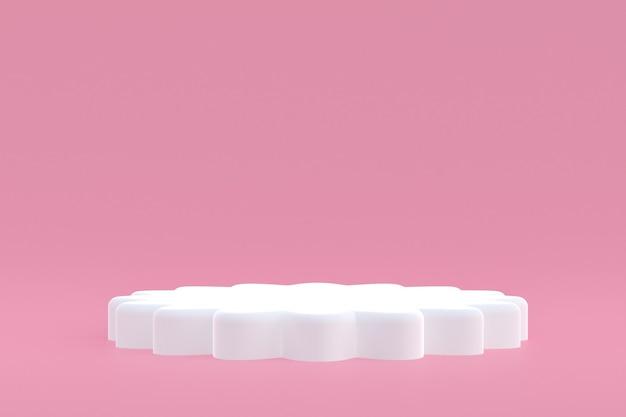 Soporte de producto, podio mínimo sobre fondo rosa para presentación de productos cosméticos.