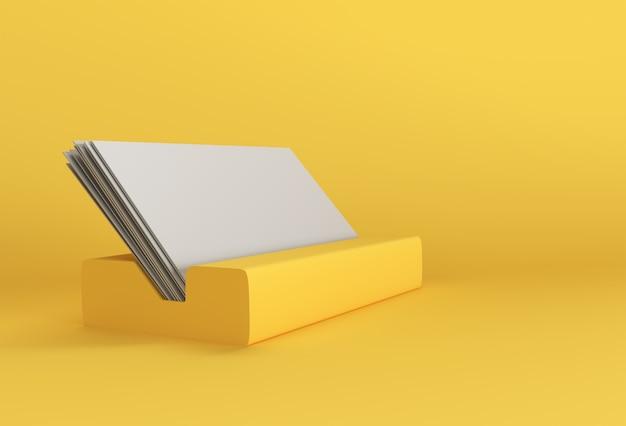 Soporte de renderizado 3d para tarjetas de visita, soporte de exhibición, marco de imagen para maquetas y diseño de plantillas.
