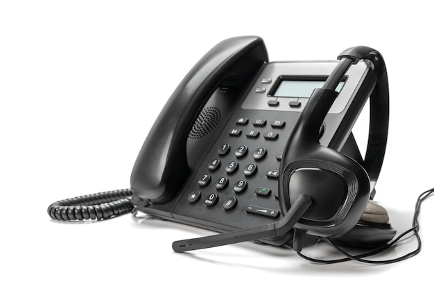 Soporte de servicio al cliente, concepto de centro de llamadas. auriculares con diadema voip